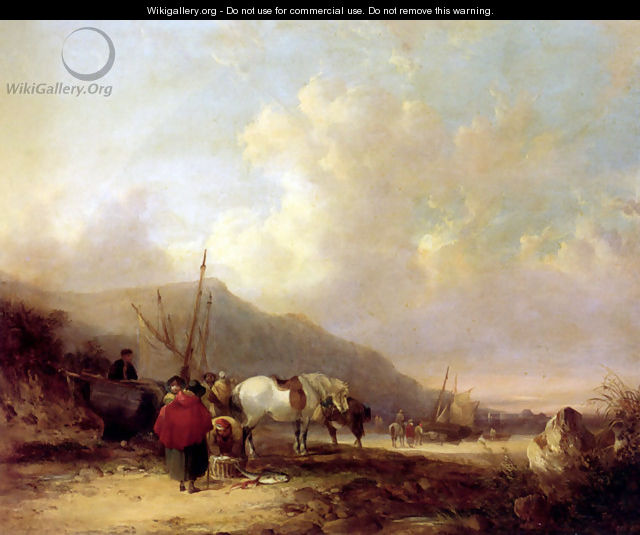 A Busy Beach Scene - William Joseph Shayer