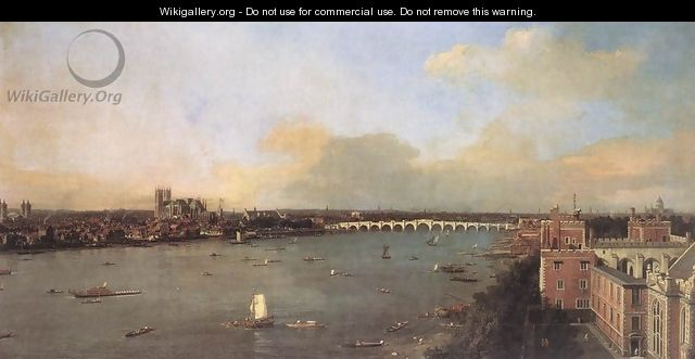 London, Seen from an Arch of Westminster Bridge - (Giovanni Antonio Canal) Canaletto