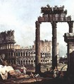 Capriccio Romano, Colosseum ruins and Vespasian Temple - (Giovanni Antonio Canal) Canaletto