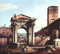 Capriccio Romano, city gate tower - (Giovanni Antonio Canal) Canaletto