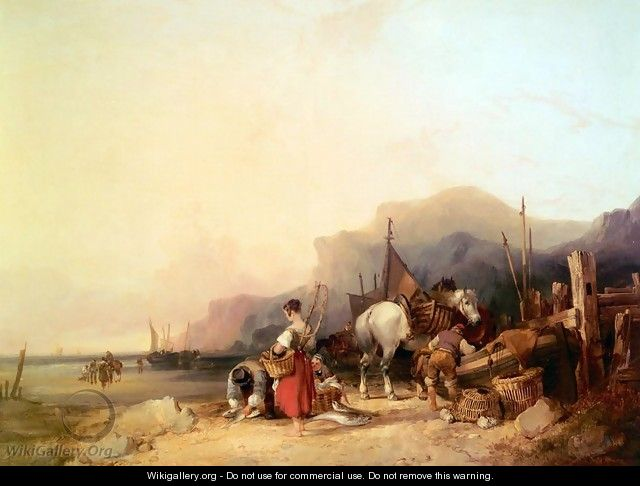 Unloading The Catch, Near Benchurch, Isle Of Wight - William Joseph Shayer