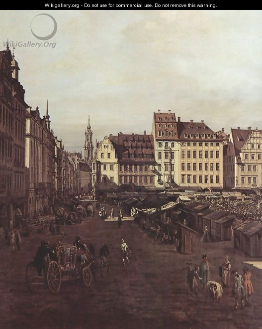 View of Dresden, The Old Market Square from the Seegasse, detail - (Giovanni Antonio Canal) Canaletto