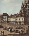 View of Dresden, the Neumarkt Moritz of the road, detail - (Giovanni Antonio Canal) Canaletto