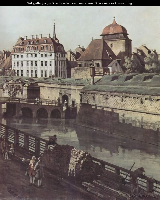 View of Dresden, the fortress plants in Dresden, fortified with trenches bridge between Wilschen gate pillar and pos - (Giovanni Antonio Canal) Canaletto
