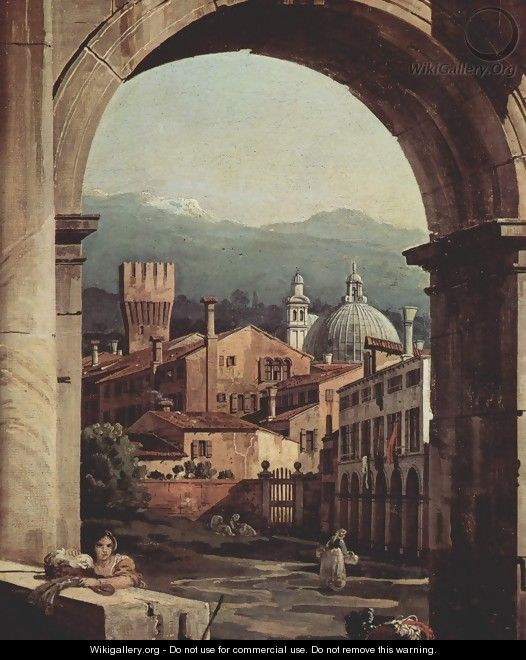 Capriccio Romano, city gate tower, detail - (Giovanni Antonio Canal) Canaletto
