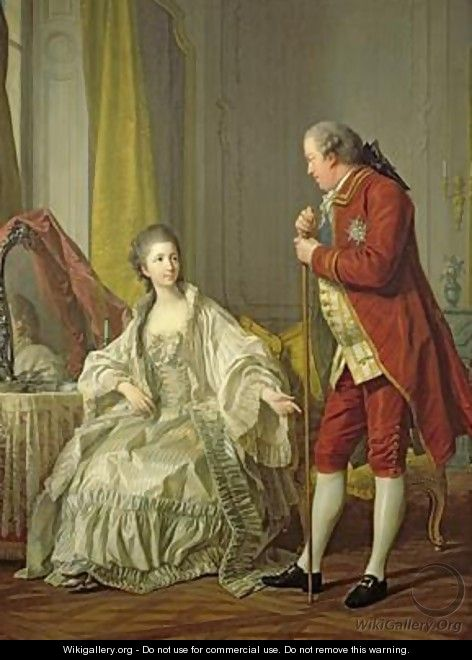 Portrait of the Marquis de Marigny and his Wife Marie-Francoise Constance Julie Filleul 1769 - Louis Michel van Loo