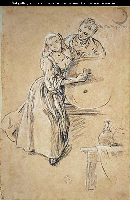 Wine-pourer with a Young Man - Pietro Longhi