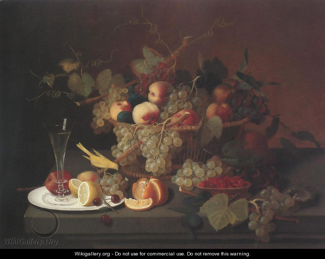 Still Life With Fruit Goblet And Canary(Nature
