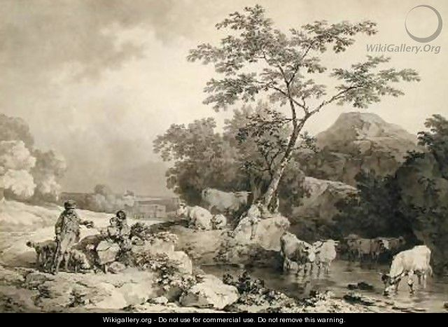 Figures by a stream with cattle watering - Philip Jacques de Loutherbourg