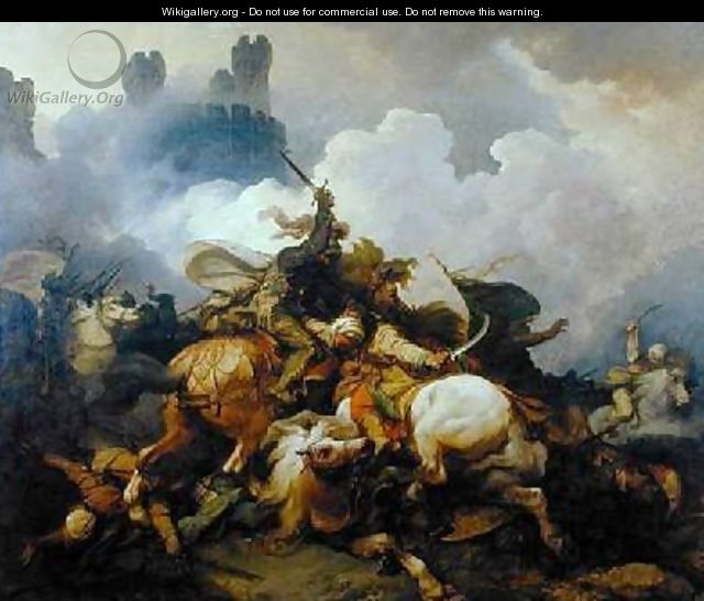 Battle Between Richard I Lionheart 1157-99 and Saladin 1137-93 in Palestine - Philip Jacques de Loutherbourg