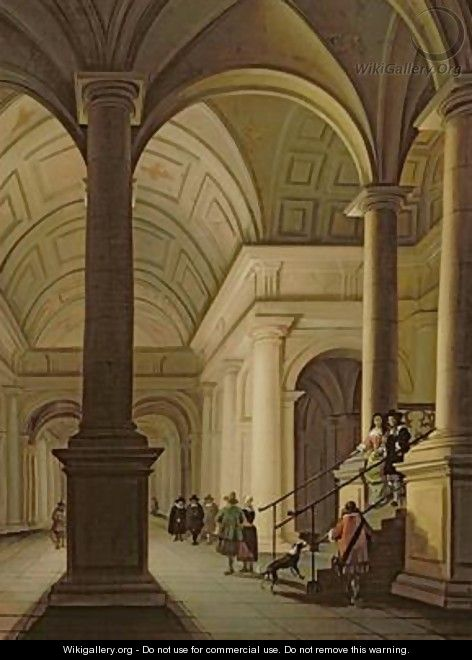 Palatial interior at night with an elegant couple making their entrance - Anthonie De Lorme