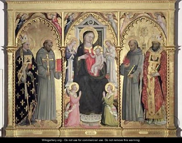 Madonna and Child with St Louis of Toulouse St Francis of Assisi St Anthony of Padua and St Nicholas of Bari - Bicci Di Lorenzo