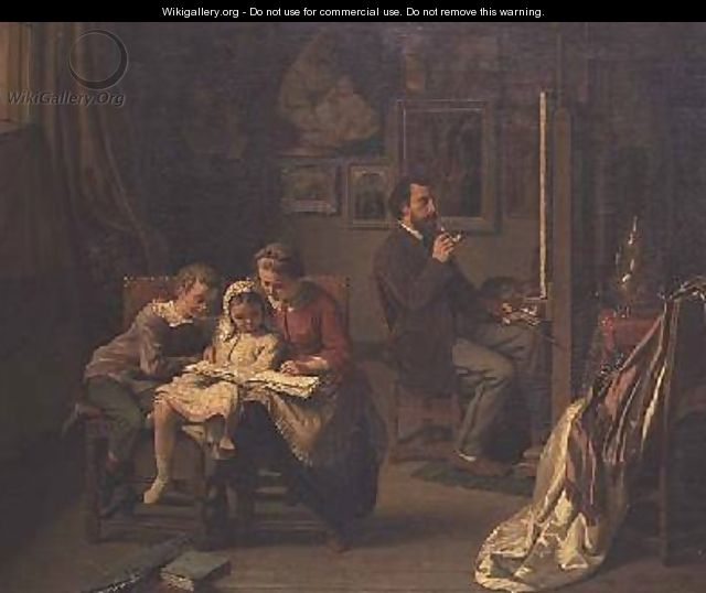 The artist with his children in his studio - Basile De Loose