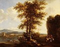 An Italianate wooded river landscape with travellers on a path - Lodewyck van Ludick