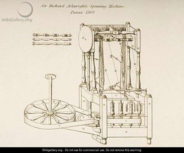 Drawing of Sir Richard Arkwrights Spinning Machine - Joseph Wilson Lowry