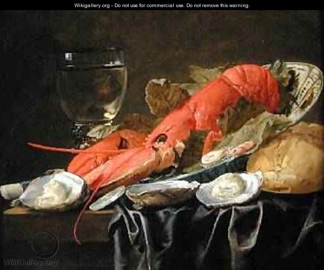 Still life with lobster shrimp roemer oysters and bread - Christian Luycks