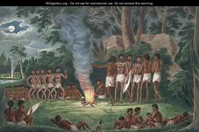 Corroboree around a camp fire from his Drawings of the natives and scenery of Van Diemens Land 1830 - Joseph Lycett