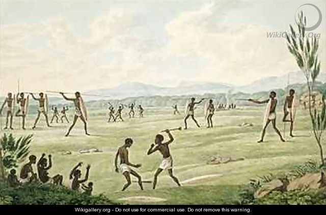 Contest with spears shields and clubs from his Drawings of the natives and scenery of Van Diemens Land 1830 - Joseph Lycett