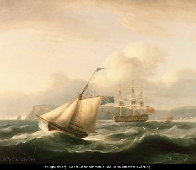 A Two-Decker Anchored in Torbay Harbour with a Cutter in the Foreground 1824 - Thomas Luny