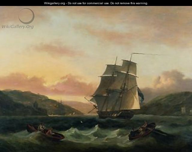 A Brigantine in Full Sail in Dartmouth Harbour - Thomas Luny