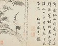 Landscapes Flowers and Birds Crane on pine Qing Dynasty 1780 - Ping Luo