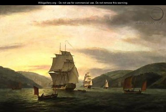 A Frigate A Lugger And Merchant Ship In Dartmouth Harbour 1808 - Thomas Luny