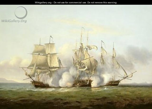 HMS Gore in Action With the French Brigs Palinure and Pilade 2 - Thomas Luny