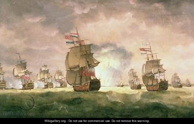 Admiral Sir George Rodney defeats a Spanish Squadron off the coast of Cape St Vincent 16th January 1780 - Thomas Luny