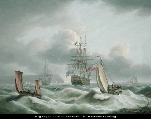 Two Deckers Lying off Berry Head - Thomas Luny