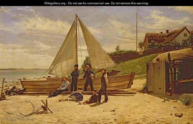 Fisherfolk by a beached sailing vessel - Frederick Christian Lund