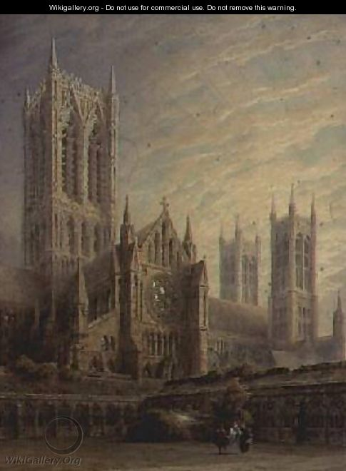 Lincoln Cathedral from the Cloisters - Frederick Mackenzie