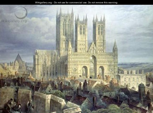 Lincoln Cathedral from the North West 1850 - Frederick Mackenzie