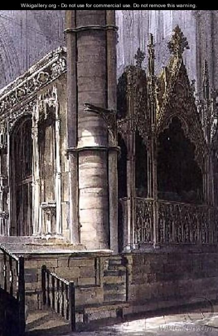 Part of the Screen of Edward the Confessor and the Tomb of Edmund Crouchback - Frederick Mackenzie