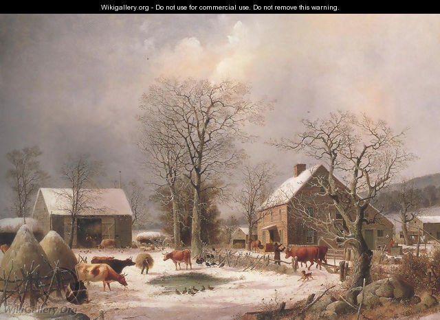 Farmyard In Winter 1847 - George Henry Durrie
