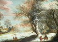 Wooded winter landscape with Flight into Egypt - Gijsbrecht Leytens