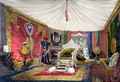 View of the tented room and ivory carved throne - Peter Mabuse