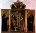 Triptych central panel depicting the Annunciation with God above and side panels bearing the figures of two saints - Nicola de Maestro Antonio