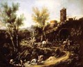 Landscape with Gypsies and Washerwoman 1705-10 - Alessandro Magnasco