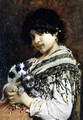 Gypsy Girl with Two Puppies - Wilhelm Johannes Maertens
