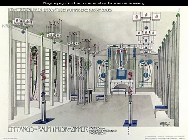 Design for a Music Room with panels by Margaret Macdonald Mackintosh - Charles Rennie Mackintosh