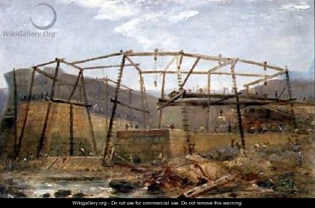 Spur Points of Piers of Inner Harbour with Cofferdam May 1829 - Robert Mackreth
