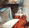 A Lady in a Medieval Costume studying the Contents of a Portfolio - Daniel Maclise