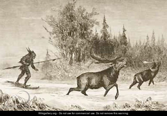 A Native American Moose hunting in the North Western Territory 1880 - Reverend Samuel Manning