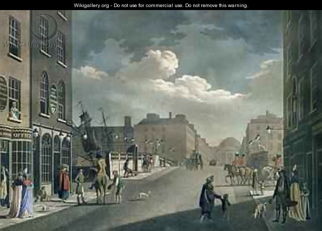 View from Capel Street looking over Essex Bridge Dublin from A set of twenty views of Dublin 1797 - James Malton