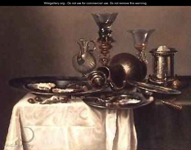 Still Life with a Plate of Oysters - Cornelis Mahu