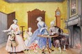Christmas in the Royal household of Empress Maria Theresa of Austria 1717-80 with her husband Francis I 1708-65 and children Maria Christine Ferdinand I later Duke of Modena 1754-1806 Marie-Antoinette 1755-93 and the infant Maximilian - Archduchess of Austria Maria Christine