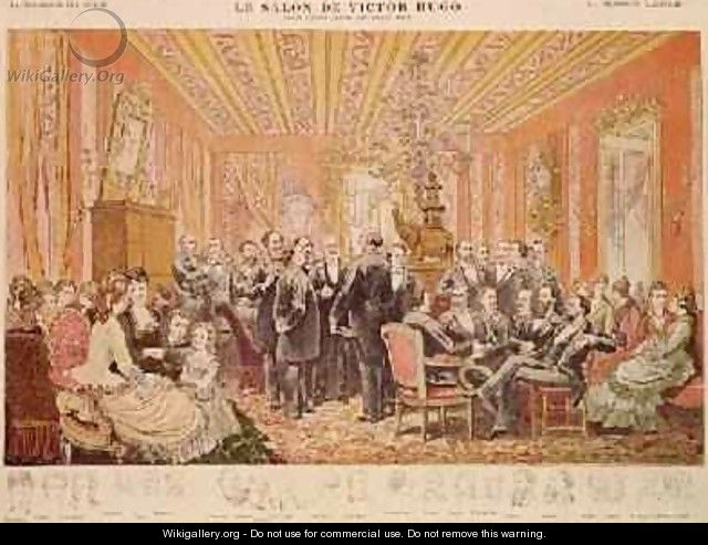 The Salon of Victor Hugo 1802-85 21 rue de Clichy illustration from La Chronique Illustree - Adrien Emmanuel Marie