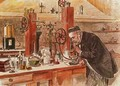 Louis Pasteur experimenting for the cure of hydrophobia in his laboratory 1885 - Adrien Emmanuel Marie