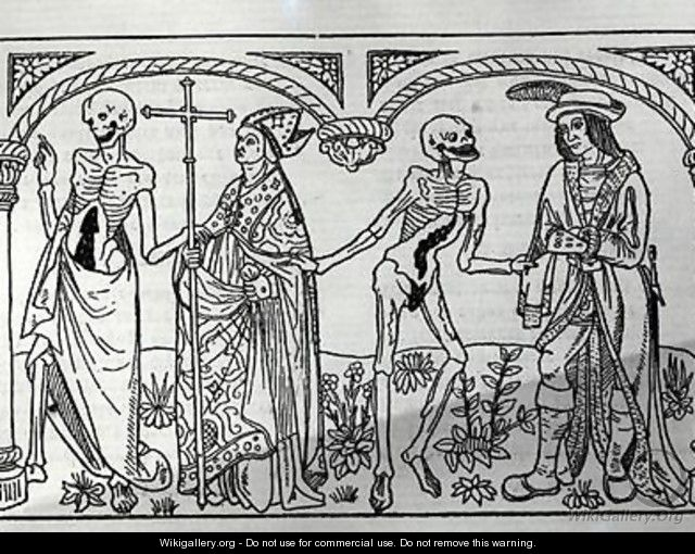 Death taking the Bishop and the Nobleman from the Danse Macabre - Guy Marchant