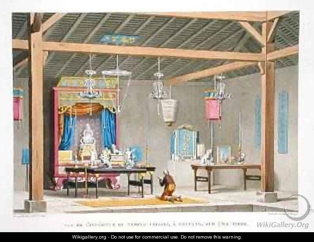 View of the interior of the Chinese Temple at Kupang on the Island of Timor - (after) Marchais, Pierre Antoine